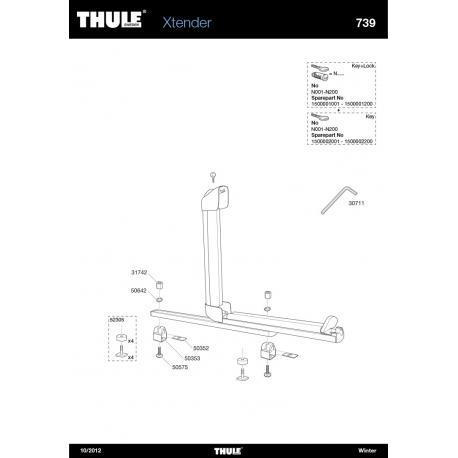 Pièces détachées porte-skis Thule Xtender